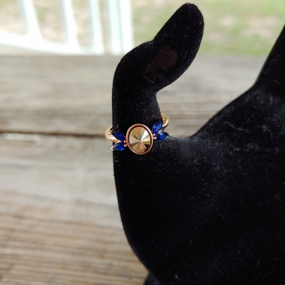 Fragrant Jewels Jewelry - Art Deco Owl Ring in Rose Goldtone